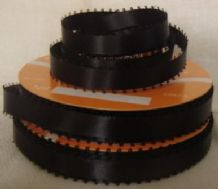"10mm (3/8"") BLACK PICOT EDGE DOUBLE SIDED SATIN ribbon, 3.0 mtrs"